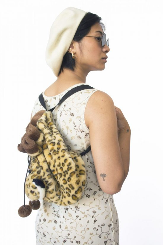 Vintage 90's Leopard Plush Backpack