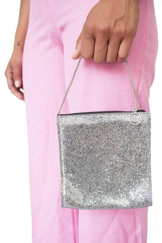 Vintage Y2K Silver Glitter Purse
