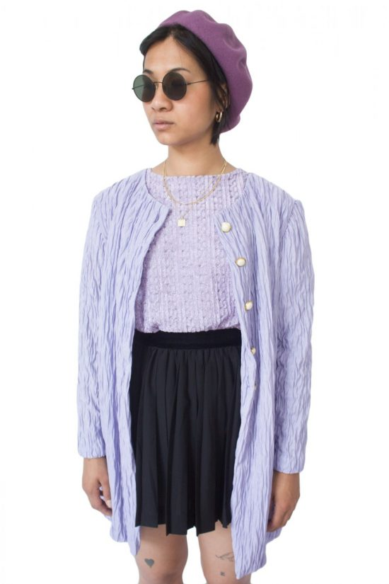 Vintage 90's Pastel Purple Cardigan Jacket - M