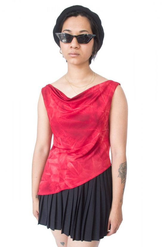 Vintage 90's Red Asymmetric Draped Top - M
