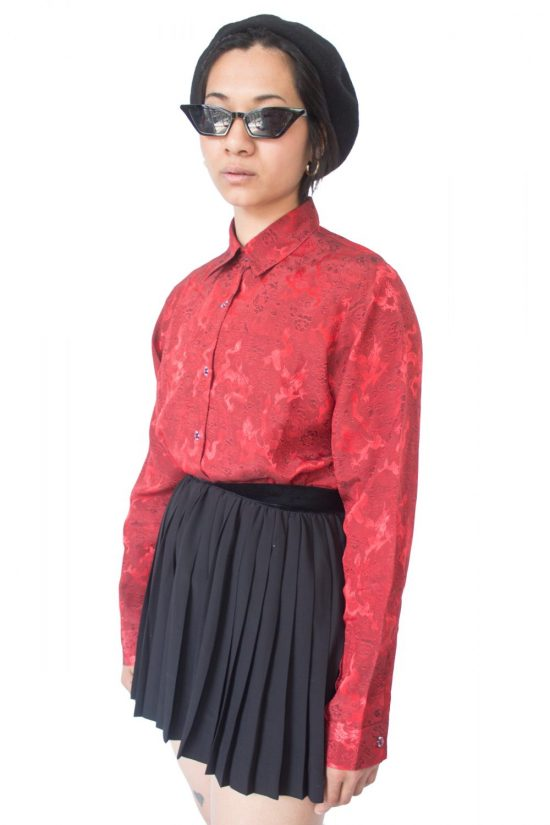 Vintage 90's Red Qipao Asian Shirt - L
