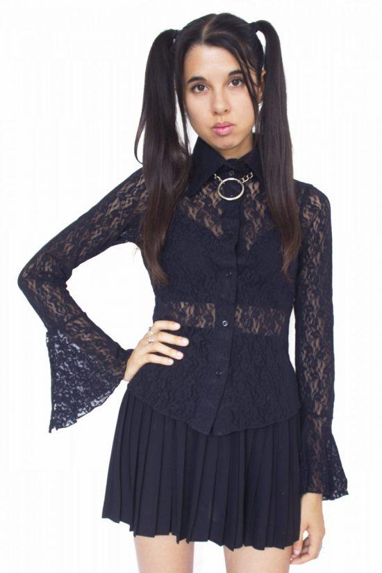Vintage 90's Black Lace Shirt - S/M