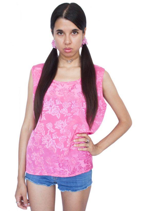 Vintage 90's Pink Floral Sleeveless Top - L
