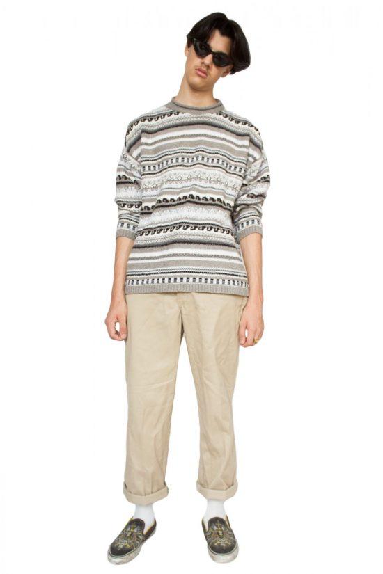 Vintage 90's Striped Knitted Jumper - L