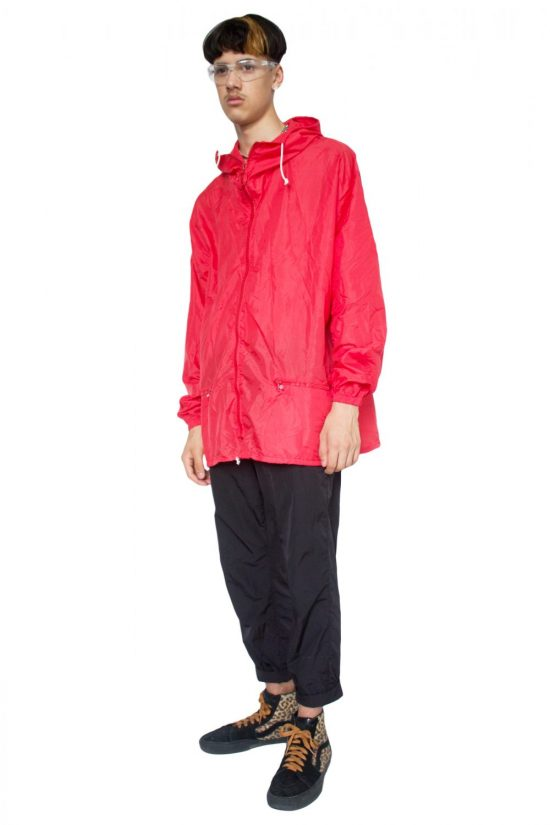 Vintage 90's Red Hooded Lightweight Jacket - XXL