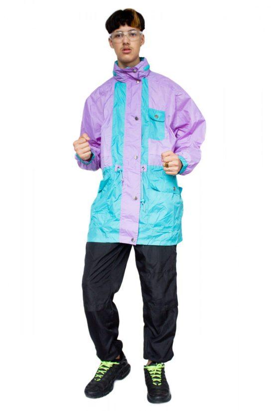Vintage 90's Pastel Color Block Raincoat - XXL