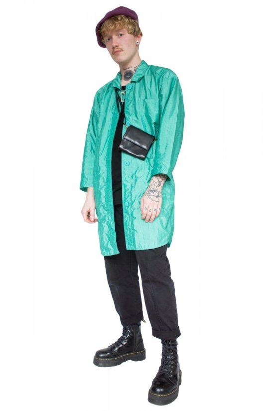 Vintage 90's Shiny Turquoise Trench Coat - XL