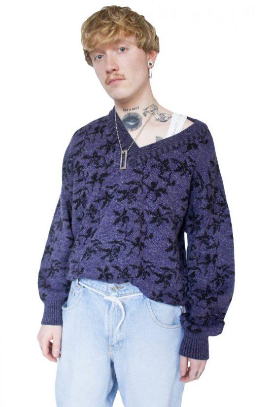 Vintage 90's Purple Floral Knitted Jumper - XXL