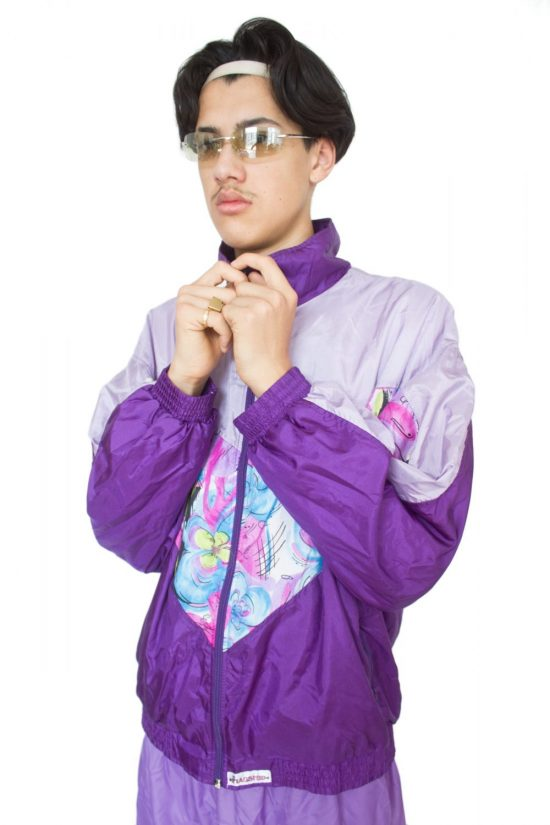 Vintage 90's Purple Floral Track Jacket - XL
