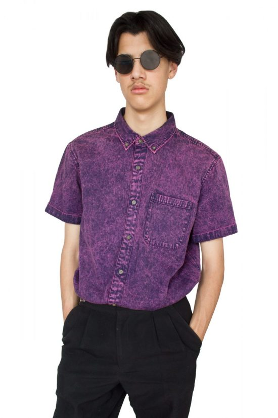 Vintage Y2K Purple Overdye Short Sleeve Shirt - XL