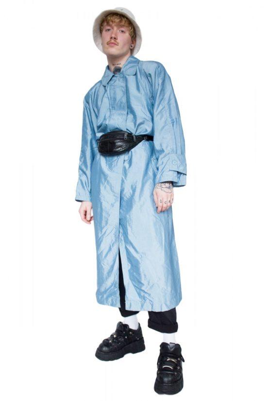 Vintage 90's Shiny Blue Trench Coat - XXL