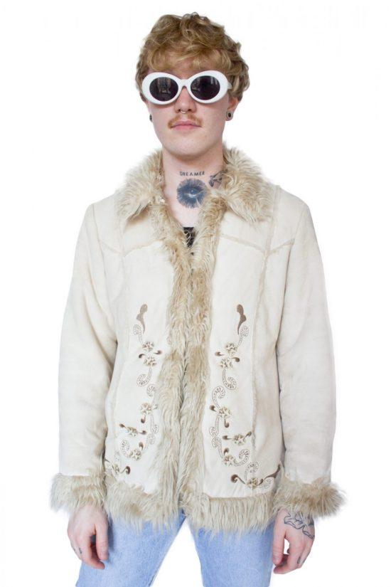 Vintage 90's Faux Shearling Jacket - M