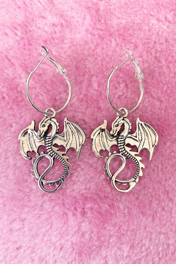 Goth Dragon Hoop Earrings dragons earrings