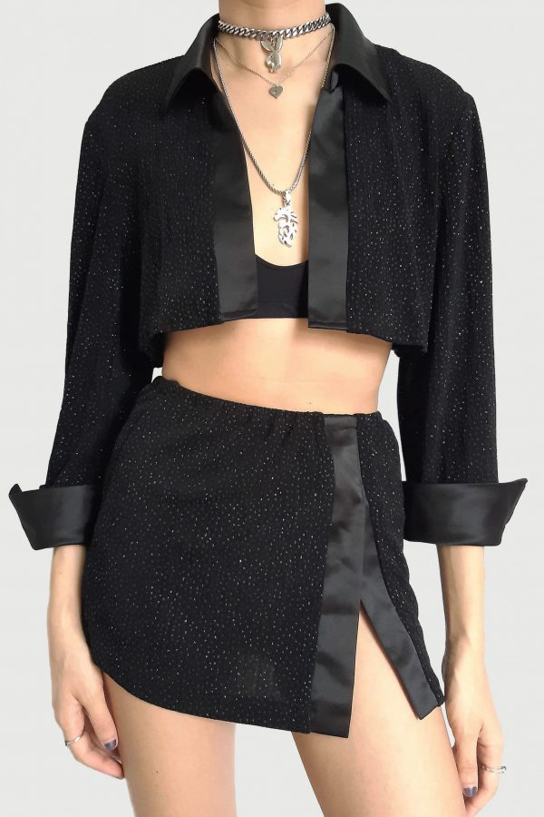 Festival Vintage 90's Black Glitter Mini Skirt Set – S 90s jacket