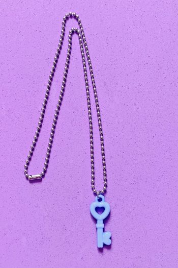 Jewelry Blue Heart Key Ball Chain Necklace aesthetic necklace