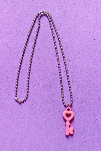 Jewelry Pink Heart Key Ball Chain Necklace aesthetic necklace