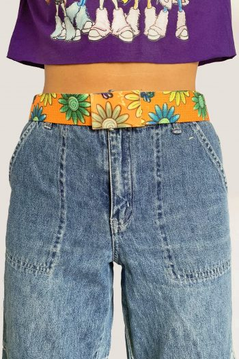 Belts Vintage Y2K Orange Daisy Slide Belt blue belt