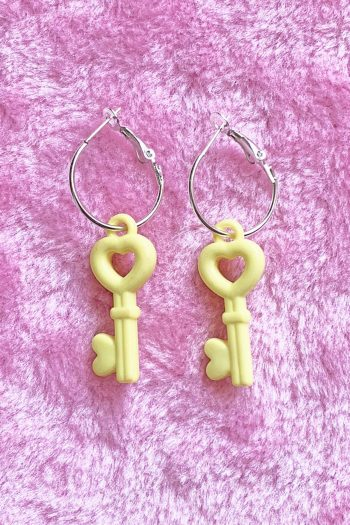 Jewelry Yellow Heart Key Hoop Earrings acrylic jewelry