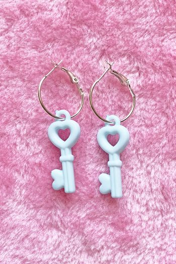 Jewelry Blue Heart Key Hoop Earrings acrylic jewelry