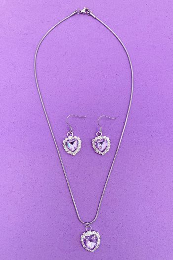 Bundles Princess Purple Rhinestone Jewelry Set drop earrings