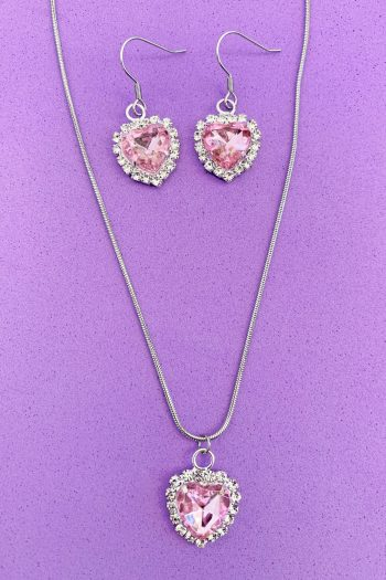 Bundles Princess Pink Rhinestone Jewelry Set drop earrings