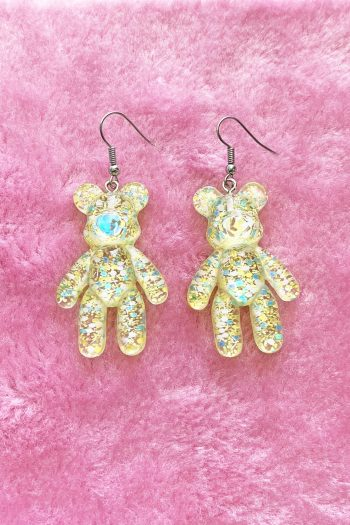 Festival Big Yellow Glitter Bear Drop Earrings bear earrings