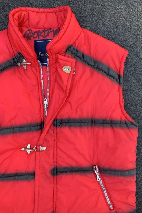 Cyber Bloody Red Puffer Vest – XL 90s jacket