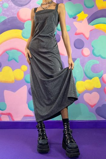 Dresses Vintage 90's Silver Glitter Maxi Dress – M/L 90s dress
