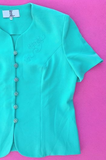 Jackets Vintage 90's Turquoise Short Sleeve Jacket – L 90s jacket