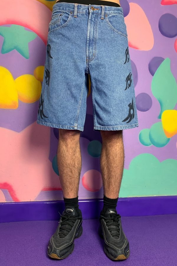 Cyber Cyber Tribal Denim Shorts – S 90s pants