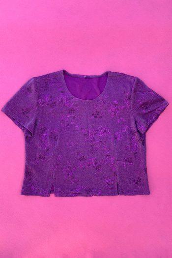 Cyber Vintage 90's Purple Glitter Top – L/XL 90s top