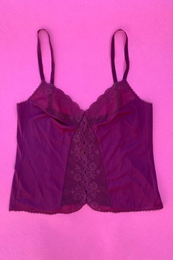 Lingerie & Nightwear Vintage 90's Maroon Lace Cami Top – M/L 90s top