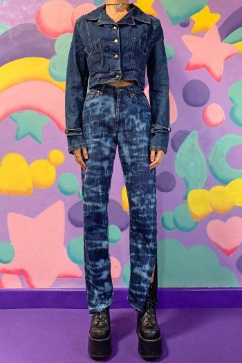 Cyber Vintage Y2K Tie Dye Open Side Jeans – S cowgirl pants