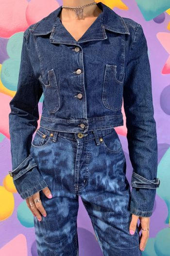 Grunge Vintage Y2K Denim Crop Jacket – M blue jacket