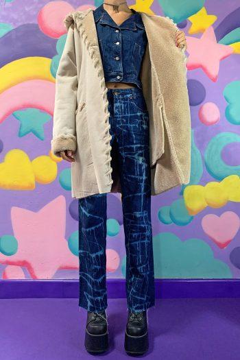 Boho Vintage Y2K Hooded Faux Shearling Coat – L 90s coat