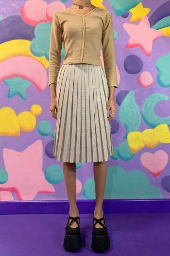 Boho Vintage 90's Check Pleated Midi Skirt – M 90s skirt