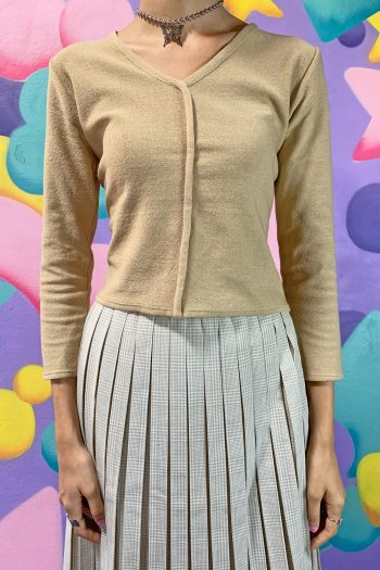 Grunge Vintage 90's Beige V Neck Sweater – S 90s sweater