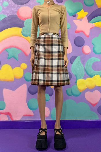 Grunge Vintage 90's Brown Tartan Pleated Skirt – XS/S 90s skirt