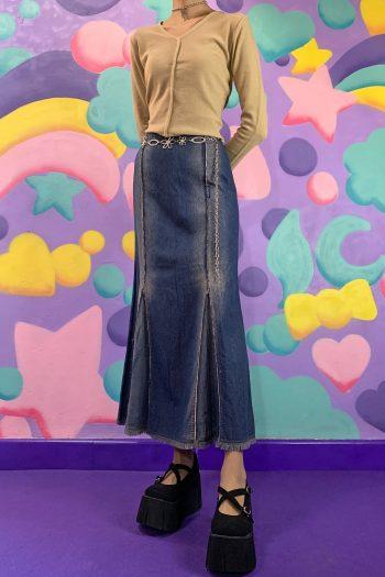 Cyber Vintage 90's Denim Flare Maxi Skirt – S/M 90s skirt
