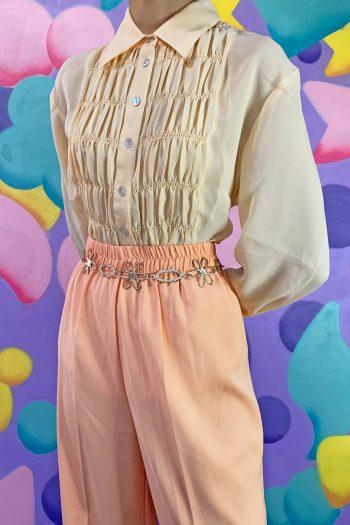 Boho Vintage 90's Cream Beige Ruched Blouse – XL 90s blouse