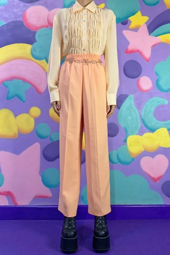 Kawaii Vintage 90's Elastic Waist Orange Pants – M 90s pants