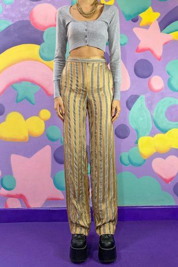 Boho Vintage Y2K Striped Suit Pants – XS Size XS
