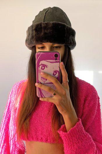 Cyber Vintage Y2K Gray Faux Fur Hat cyber hat