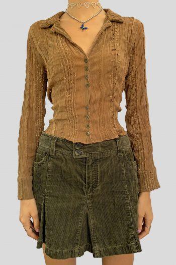 Boho Vintage 90's Brown V Neck Blouse – S/M 90s blouse