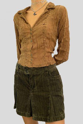 Boho Vintage Y2K Green Corduroy Mini Skirt – XS/S godet skirt