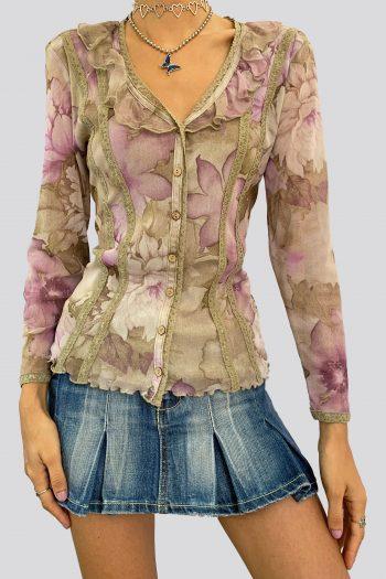 Boho Vintage Y2K Sheer Floral Ruffle Blouse – S/M floral blouse