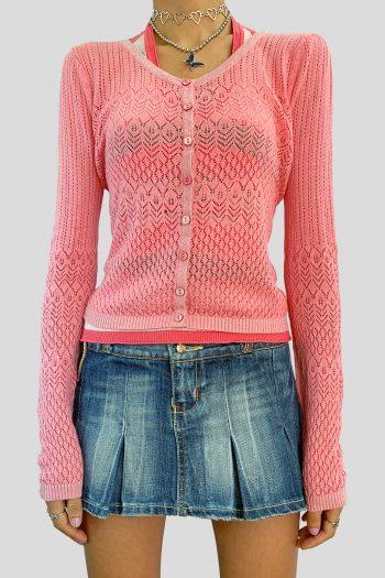 Cyber Vintage Y2K Pink Crochet Cardigan – M cardigans