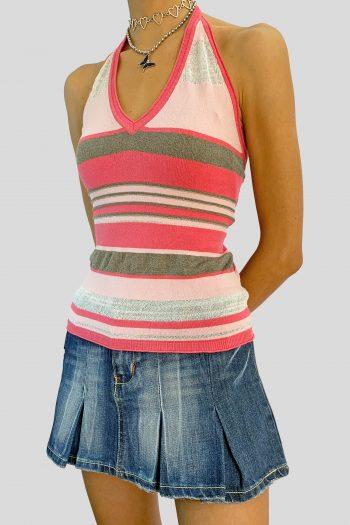 Cyber Vintage Y2K Pink Knit Halter Top – M halter top