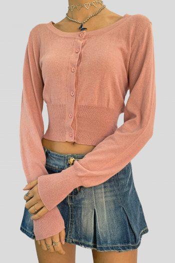 Bustiers & Crops Vintage Y2K Pink Cropped Cardigan – M cardigans