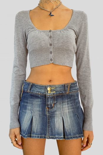 Bustiers & Crops Vintage Y2K Gray Cropped Cardigan – XS/S cardigans